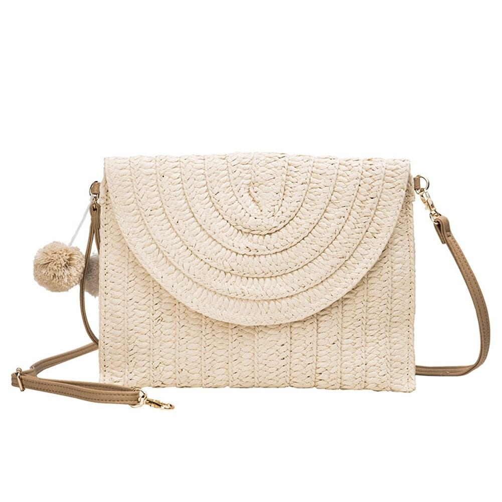 How beige straw and leather handbag better