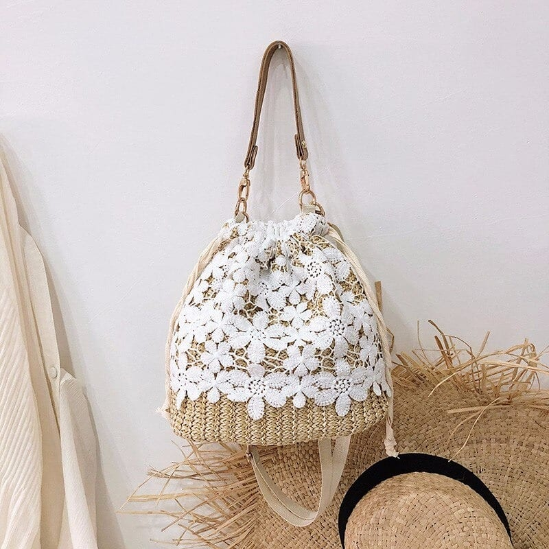 How bamboo straw bag with leather handles
