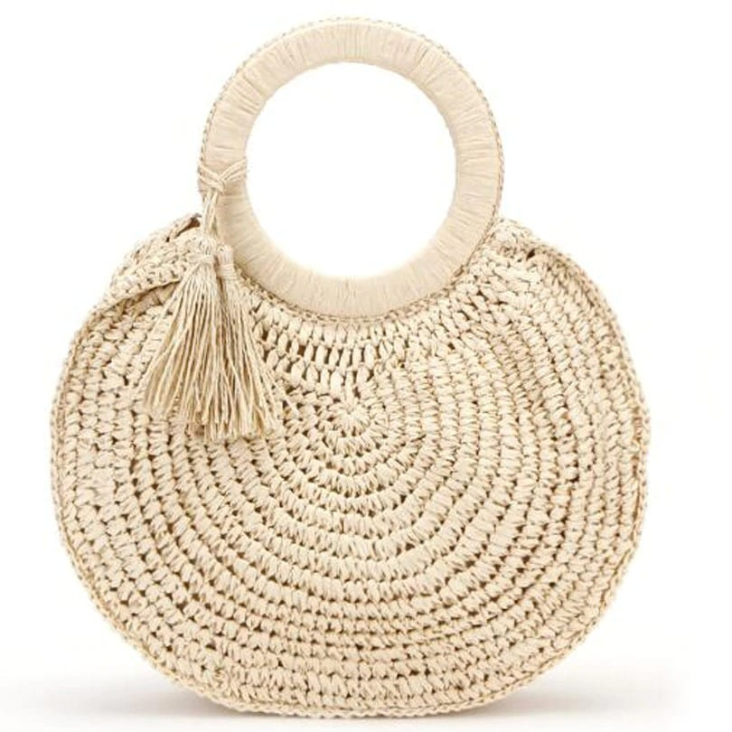 Half moon straw clutch