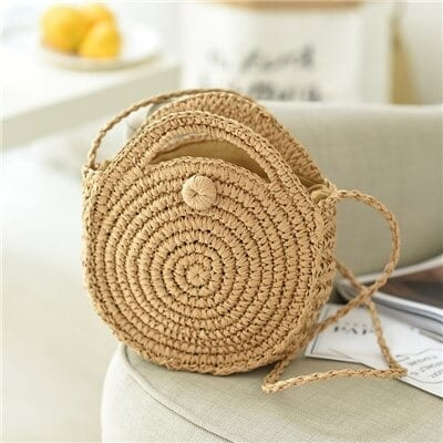 Round straw crossbody bags made in bali