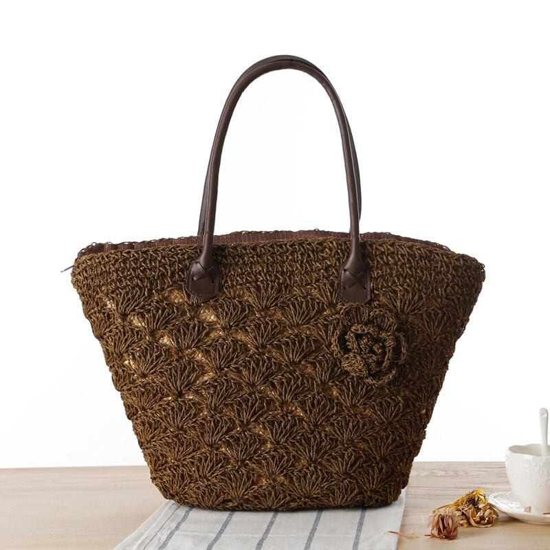 What black straw bag rattan premium