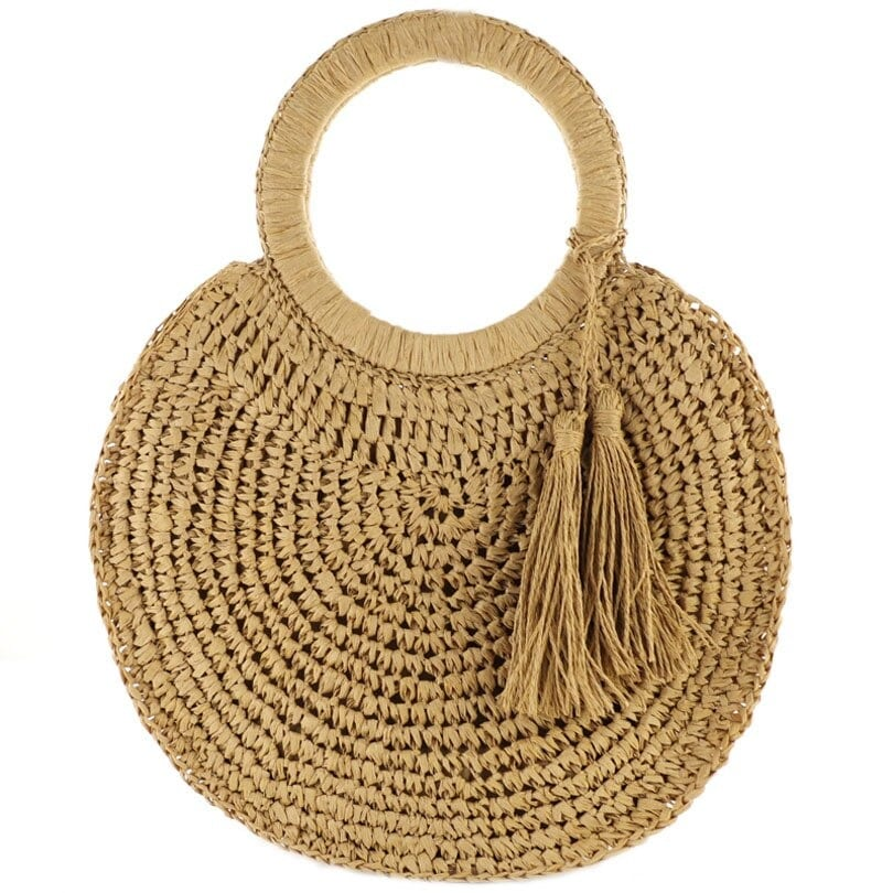 How long designer straw bag with leather handles