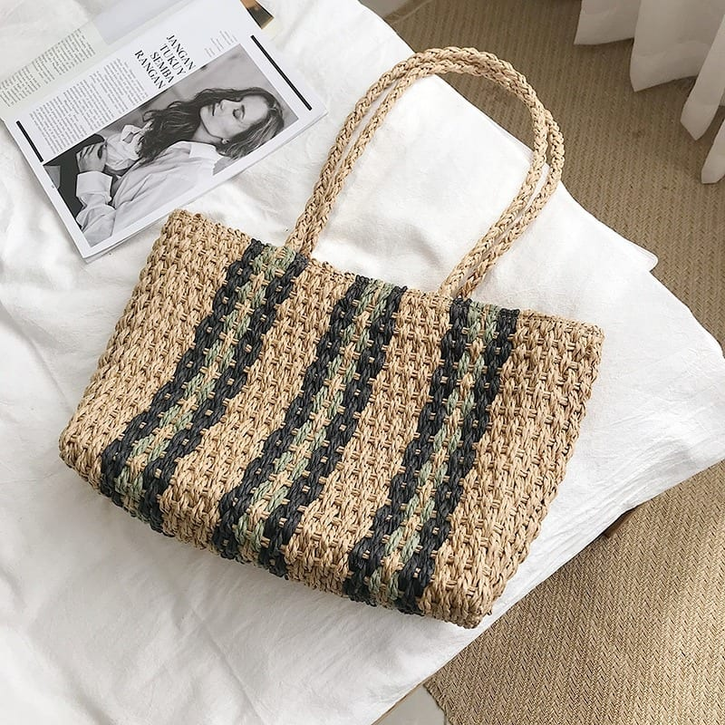 Straw bag with leather handles with zipper best