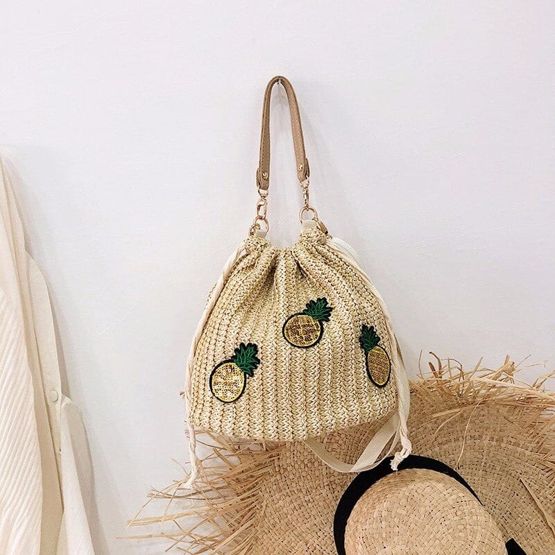 Solid straw tote beach bag
