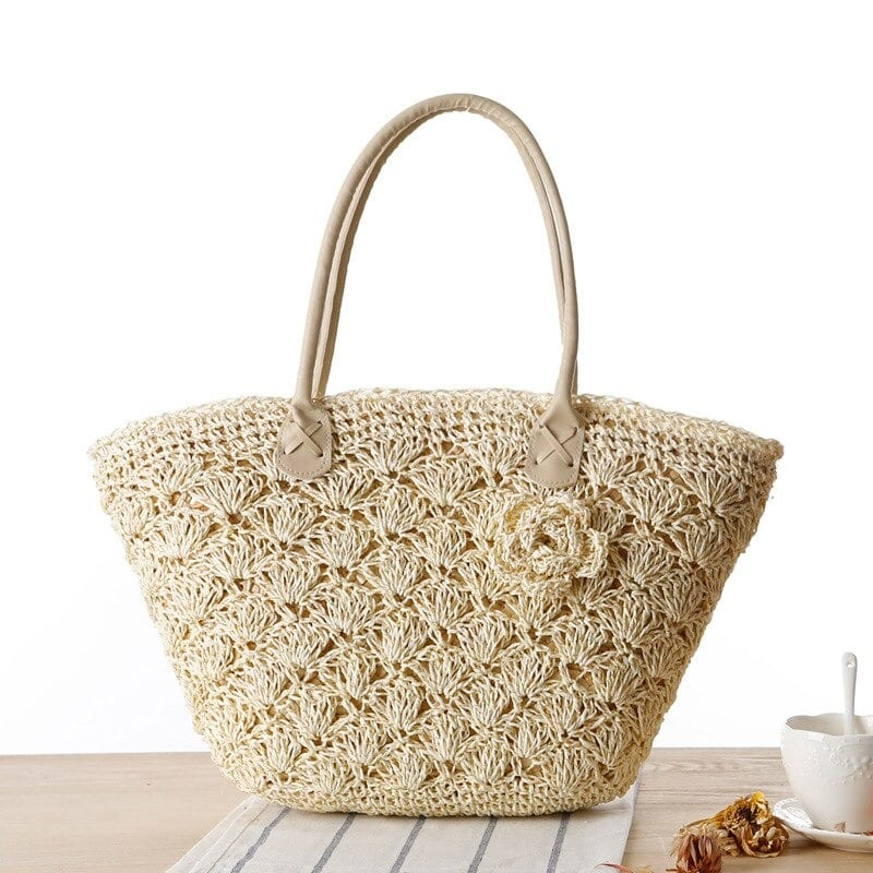 Beige circle straw bag top