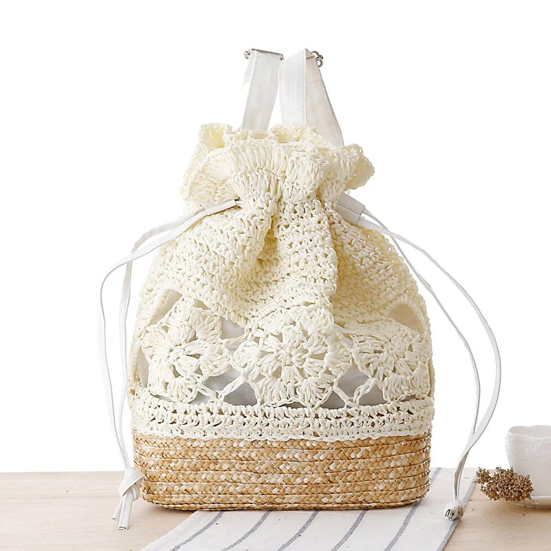 How much straw shoulder bag with flowers