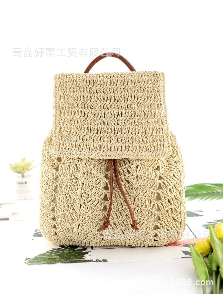 Vacation straw crossbody bag