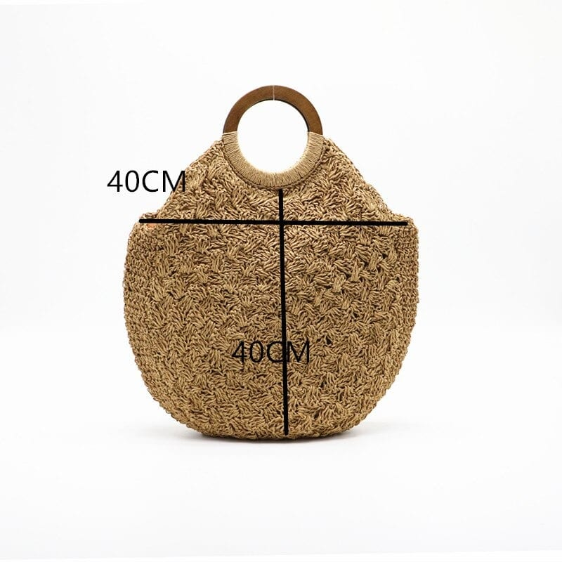 Where beige round straw crossbody bag