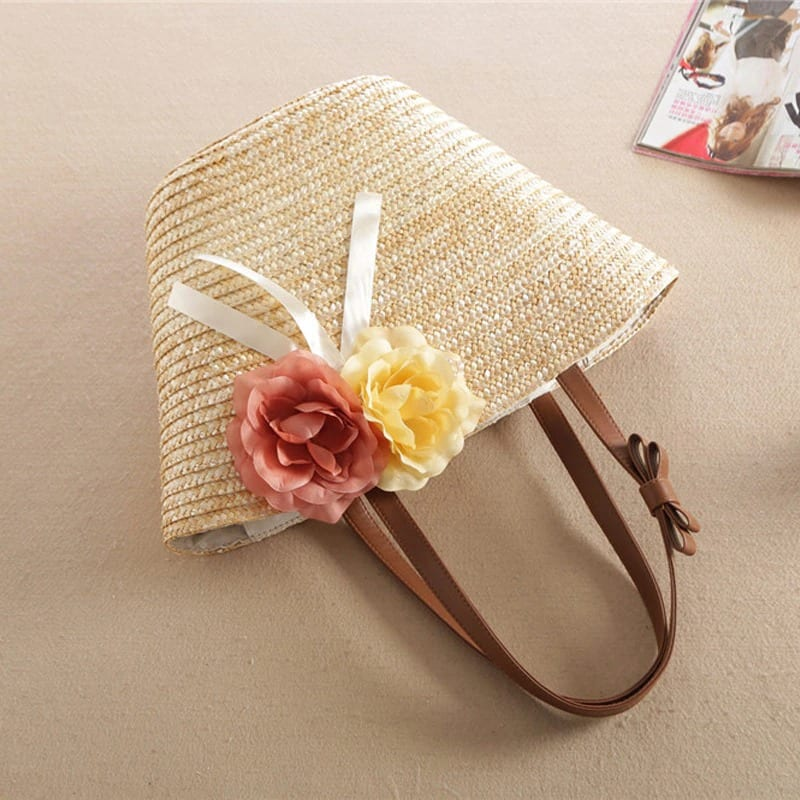 What brown woven beach bag