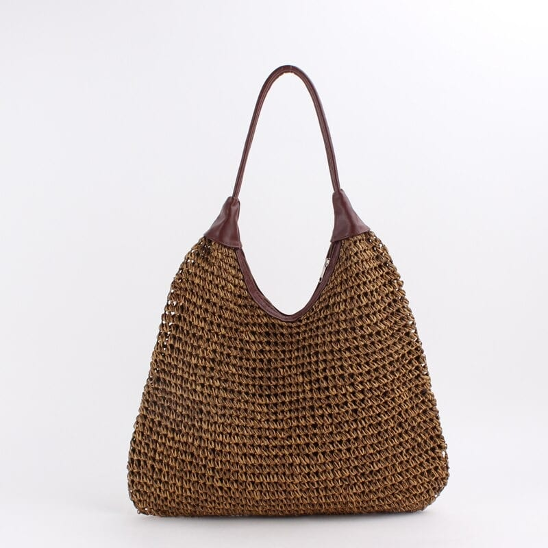 How long chain oversized straw beach bag