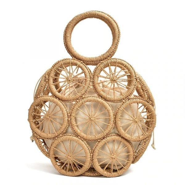 fashion rattan hollow round straw bags wicker woven women handbags