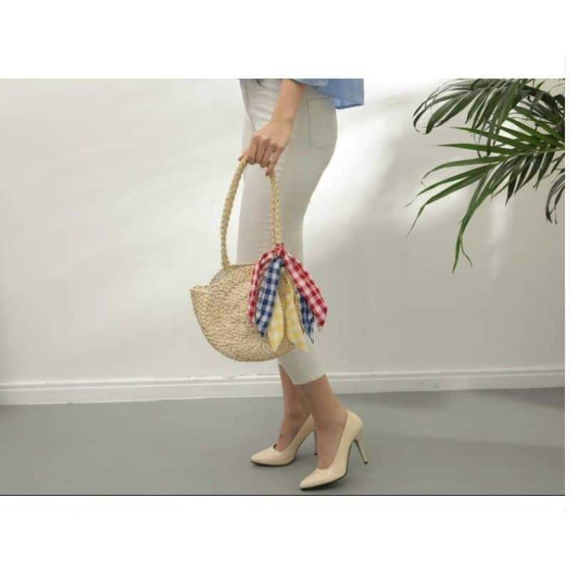 How long straw beach tote with flowers top