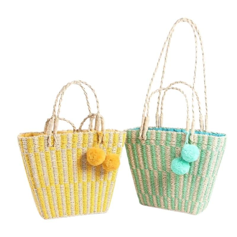 Lined straw beach tote premium