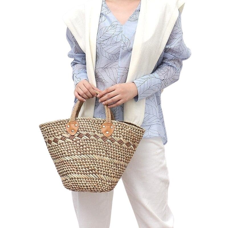 Handicaft designer straw handbag top