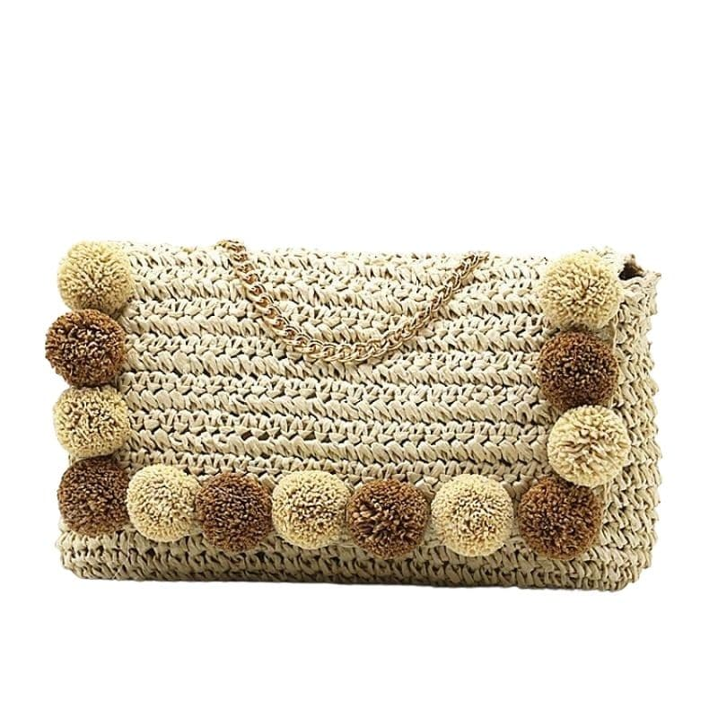 Travel round straw purse