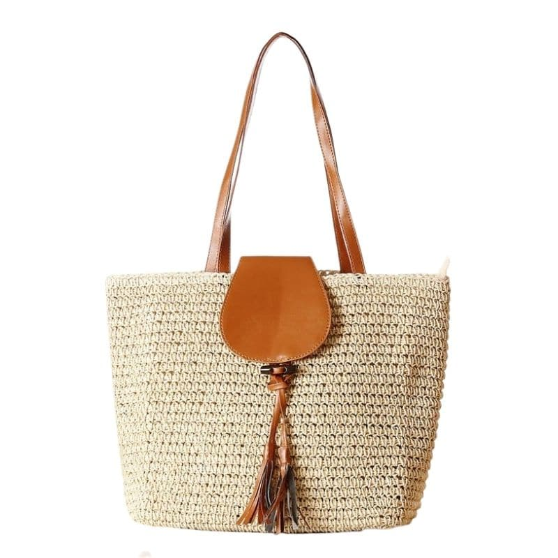 White straw tote bag