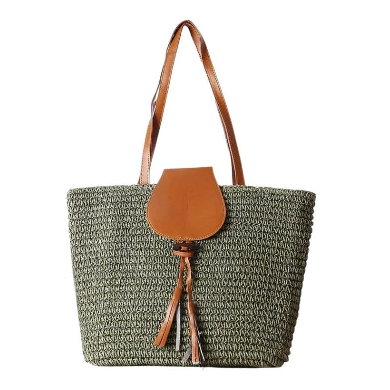 Shoulder vintage straw handbag