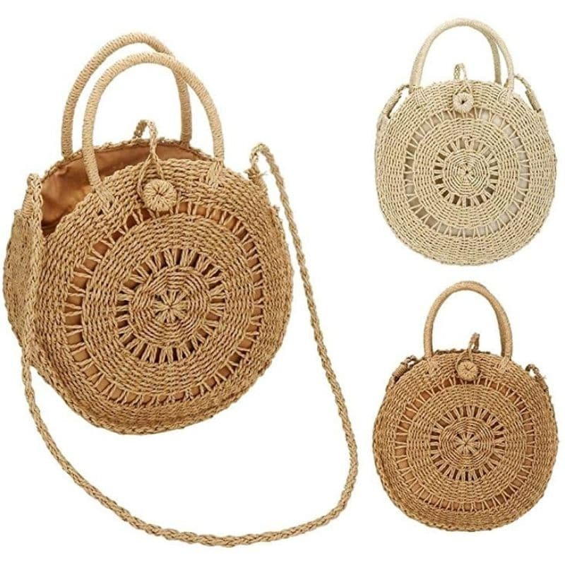 Navy straw handbag for summer
