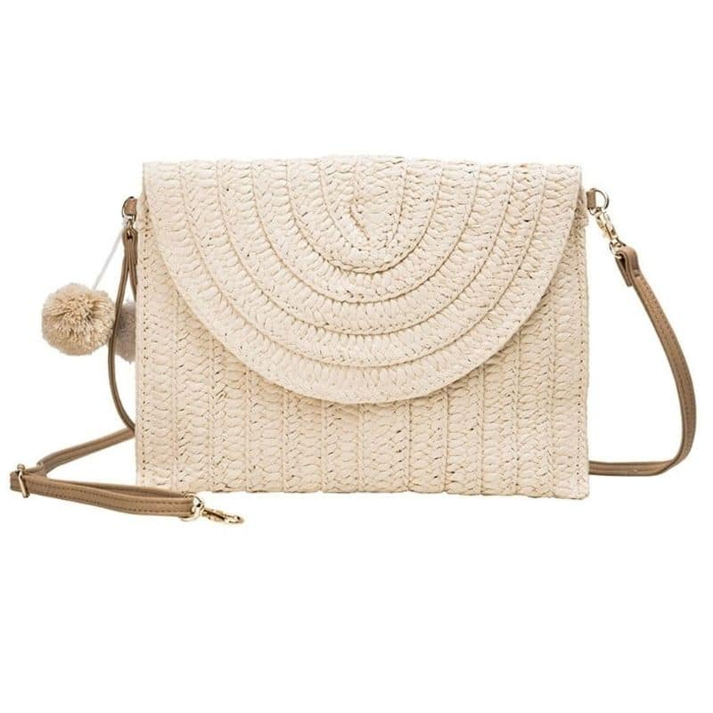 Why pink straw bag with leather handles suggest