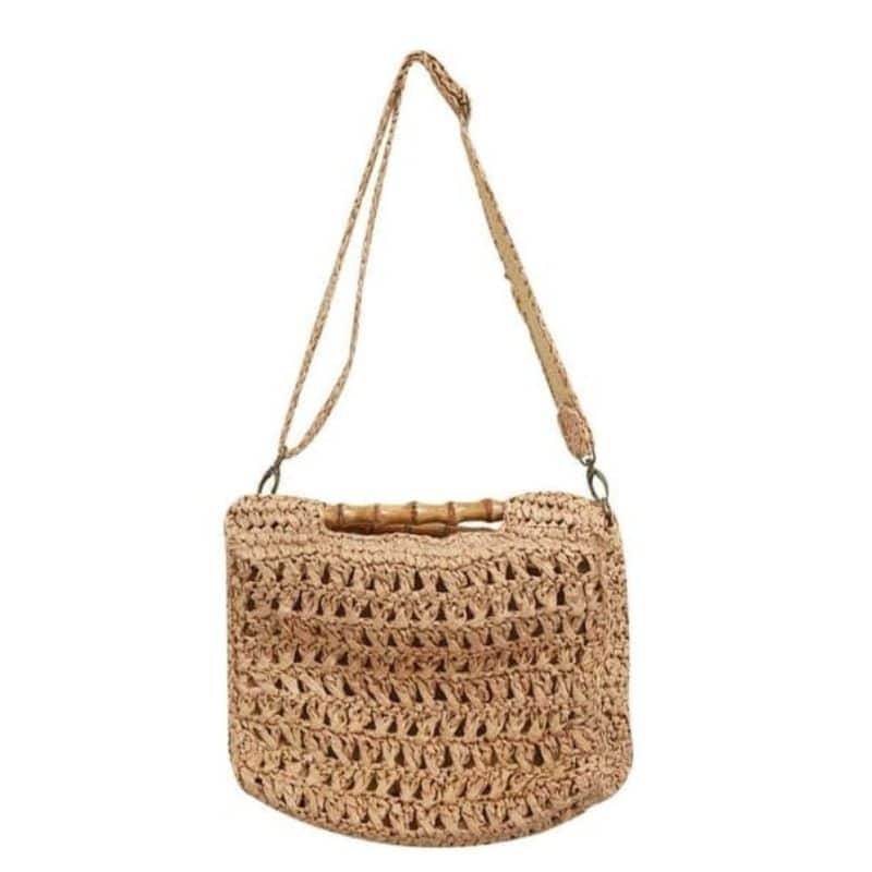 Hard round straw purse premium