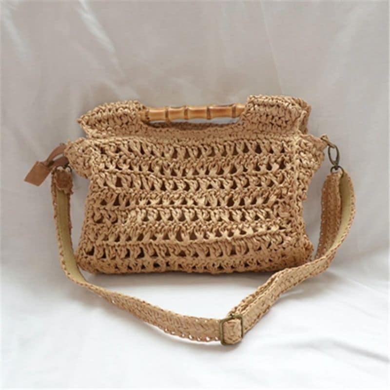 Designer straw bag with leather handles value