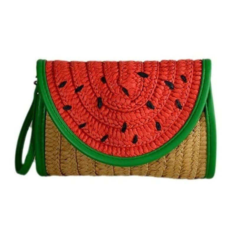 Straw market bag leather handles