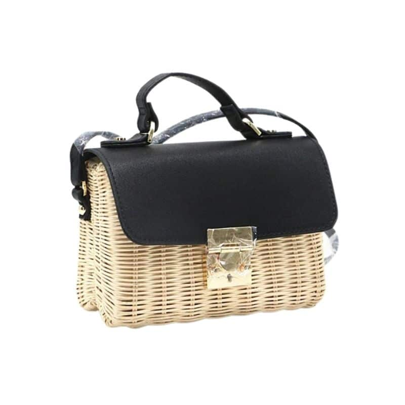 When stripped wicker handbag