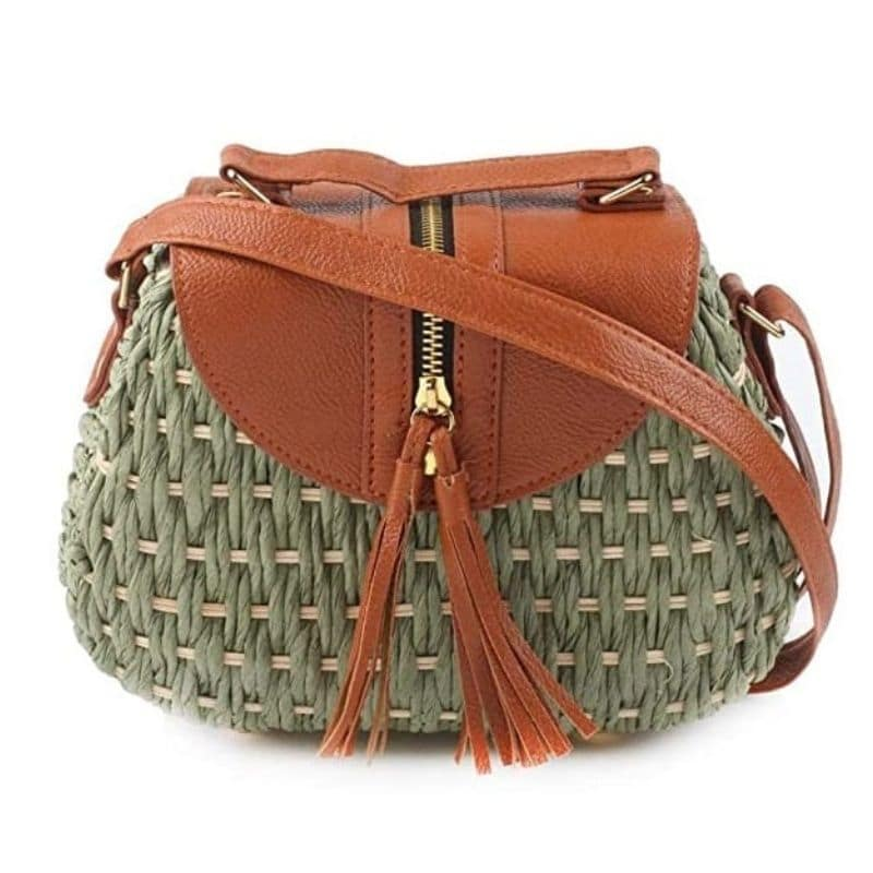 When solid woven crossbody bag