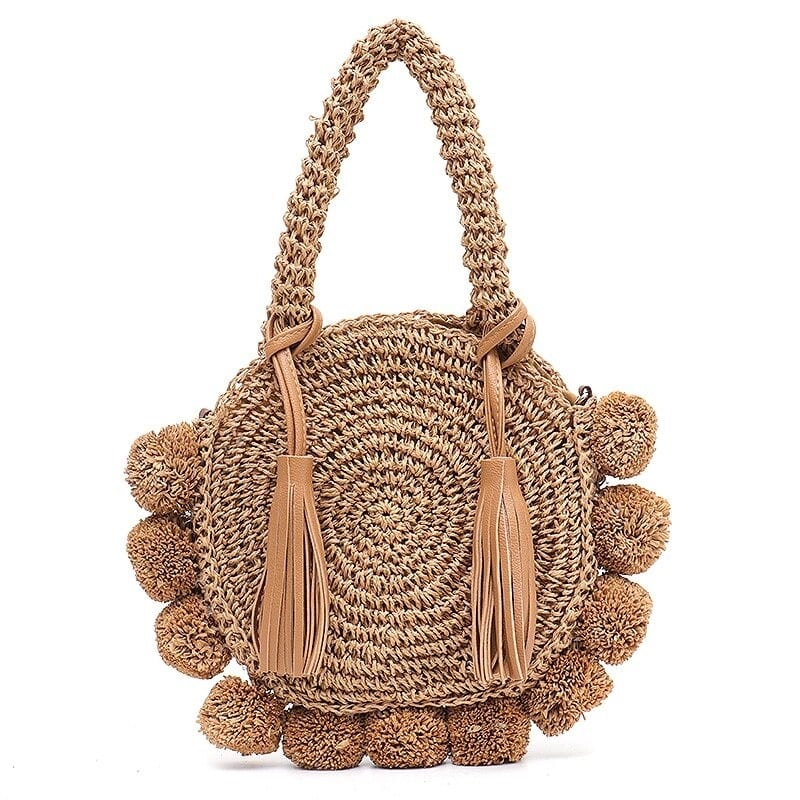 What native round straw bag