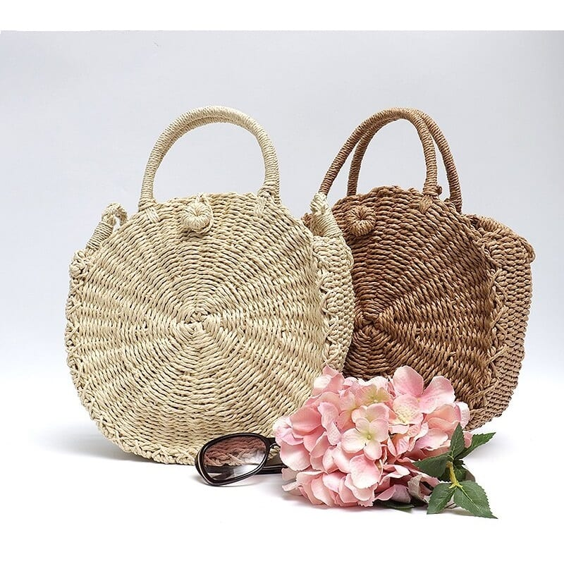 How long khaki rattan tote bag 2021