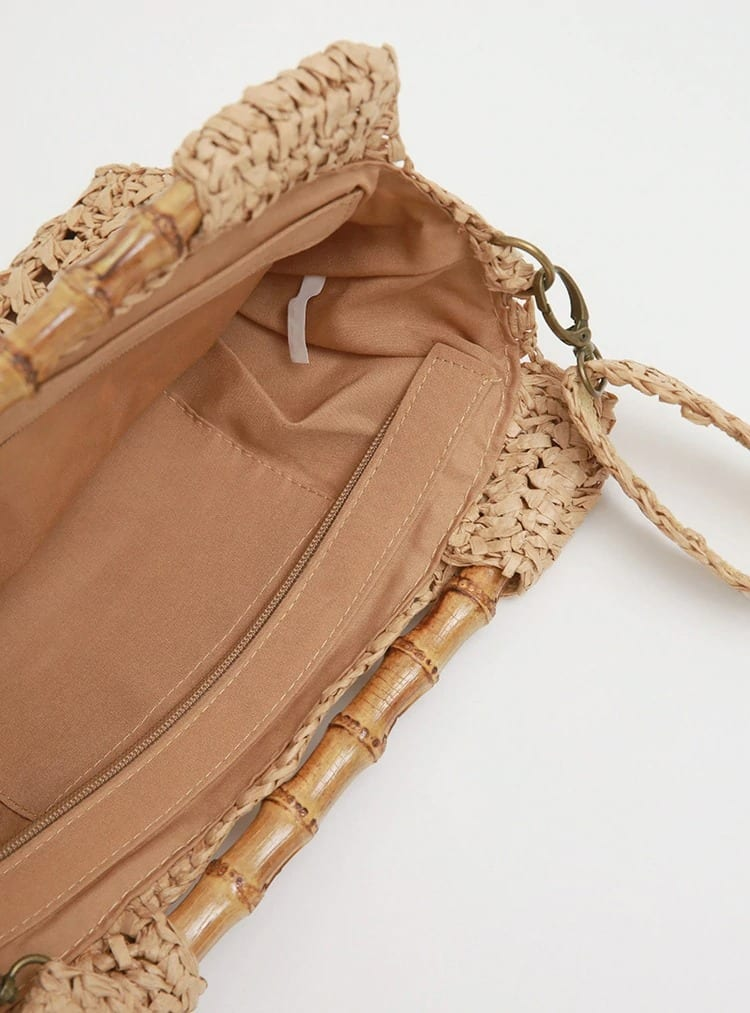 When rattan straw pocketbooks