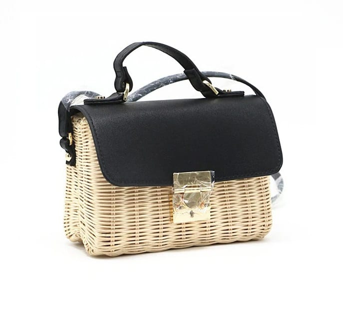 Rattan and woven clutch