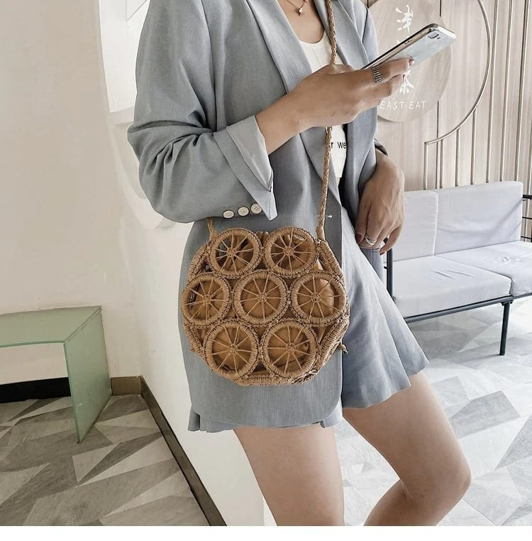 Which casual black straw purse