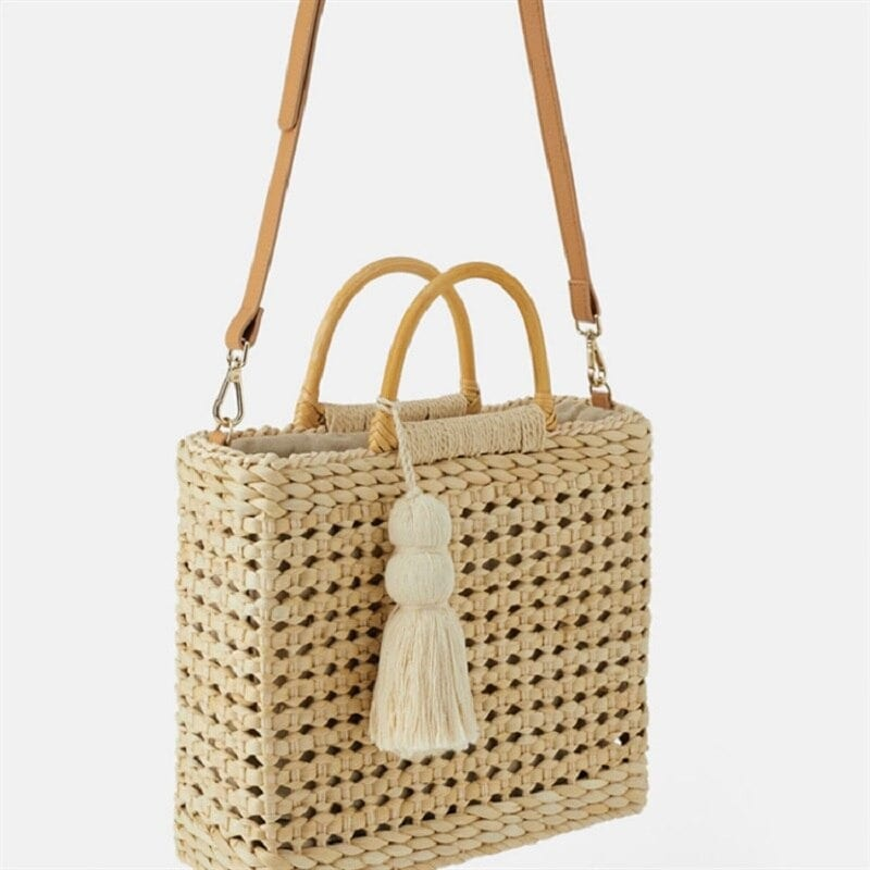 Beige woven leather tote premium