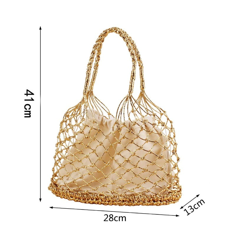 How many small woven straw and leather handbags
