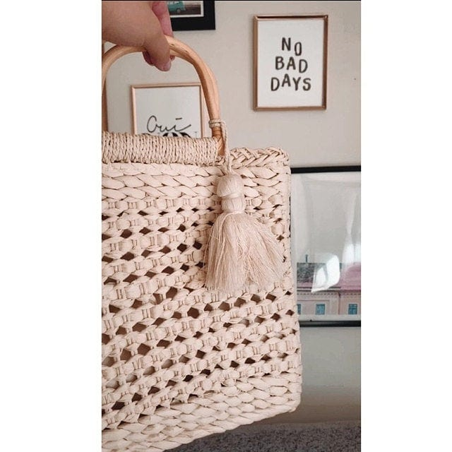 Why straw tote with flowers