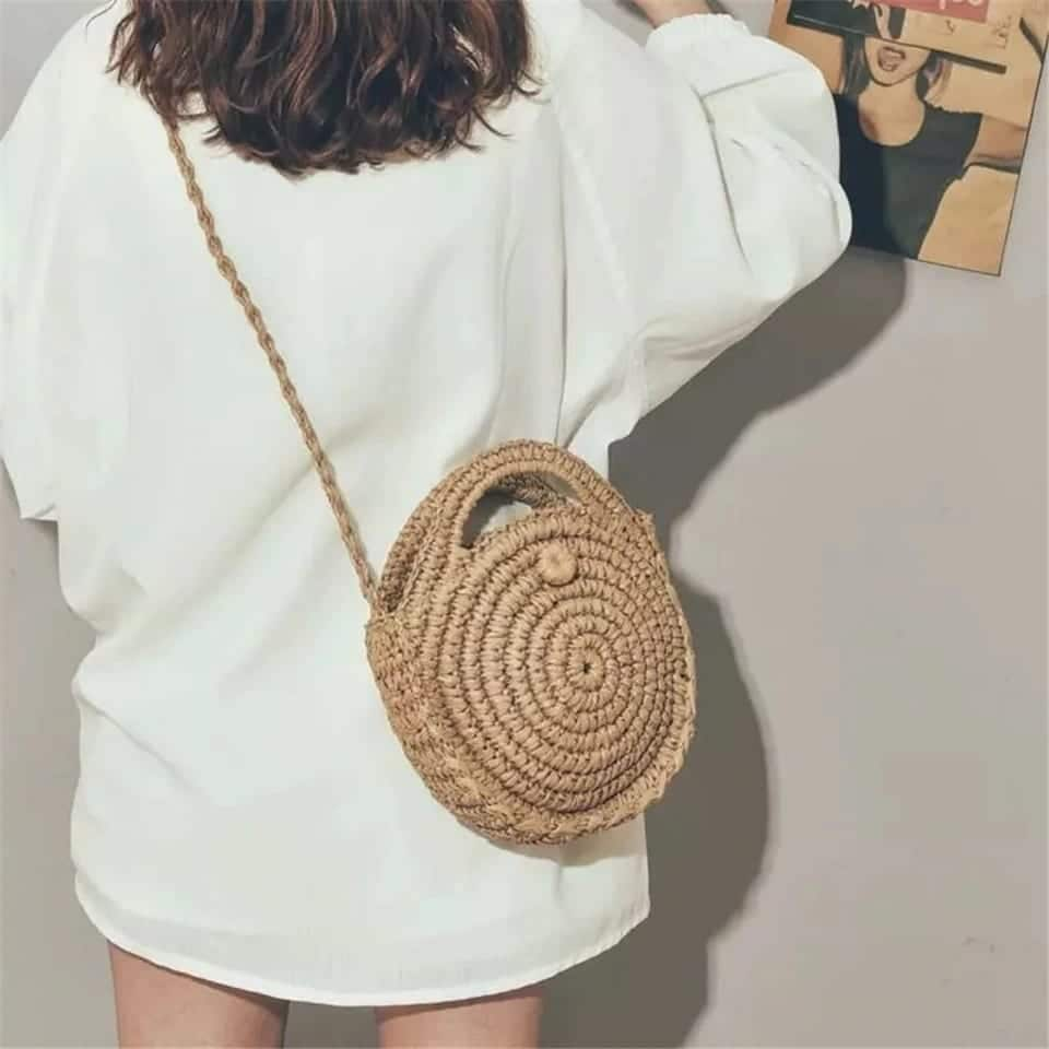 Woven leather bags clutch top