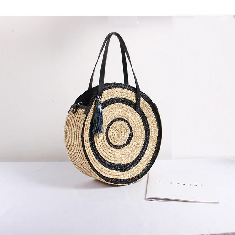 Straw bag with leather handless summer