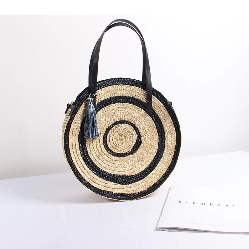 How shoulder round straw bag quality