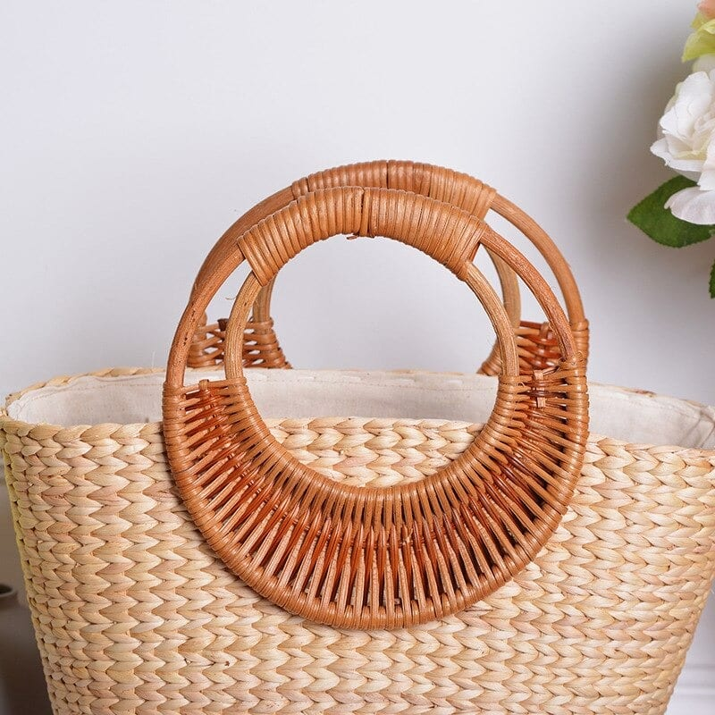 Stripped oversized straw beach bag
