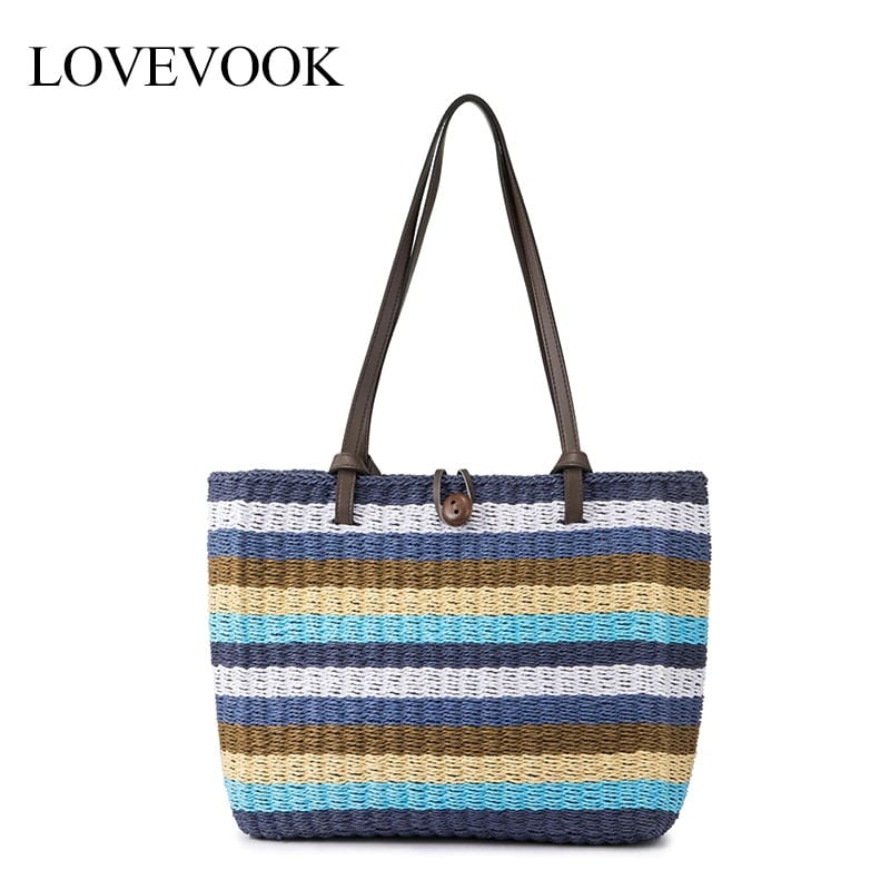 Bamboo straw shoulder bag good