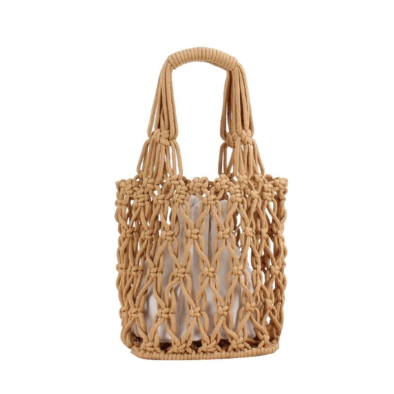 Which navy straw and leather handbag