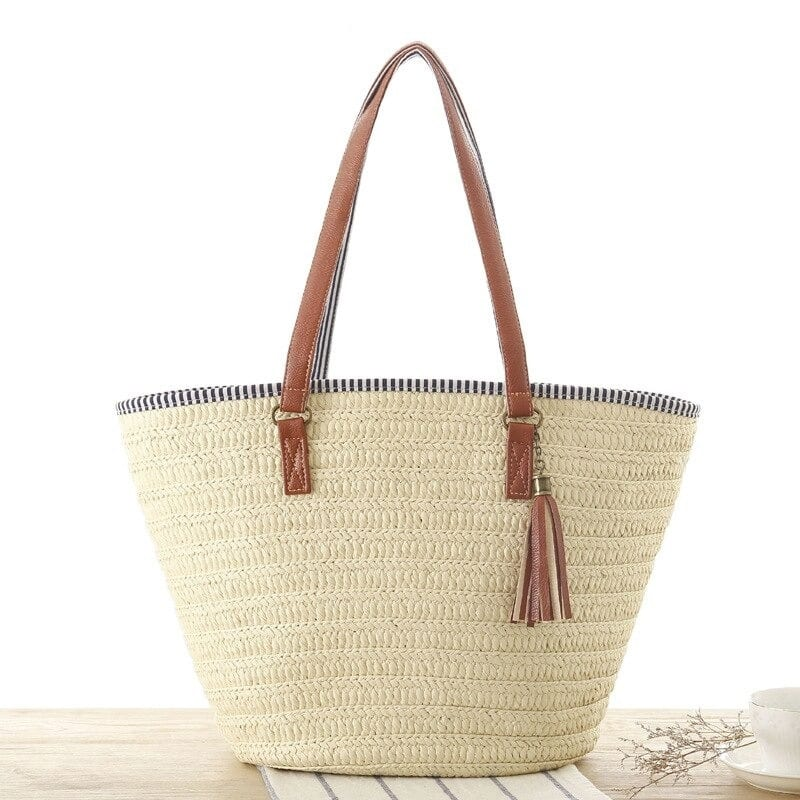 Beige straw tote handbag top