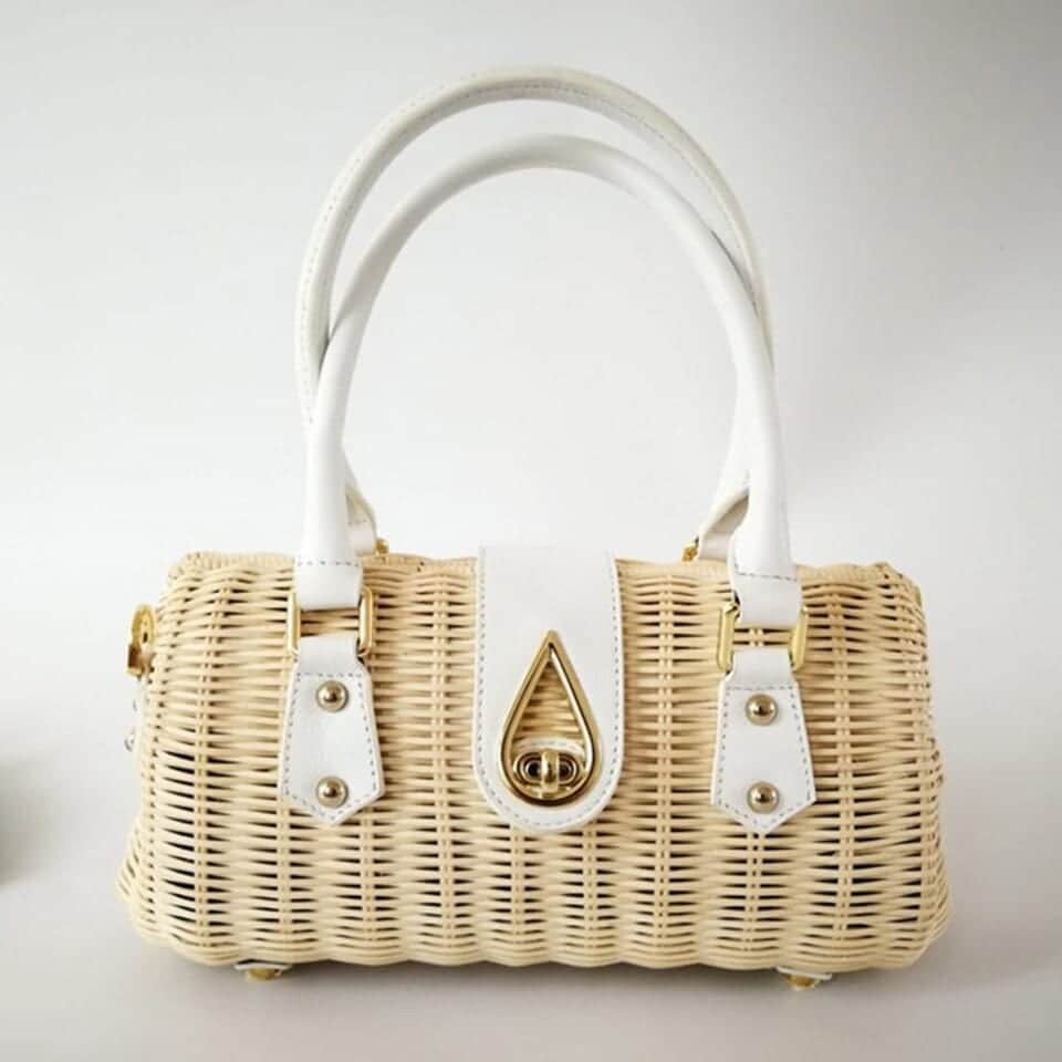 Bamboo round straw bag