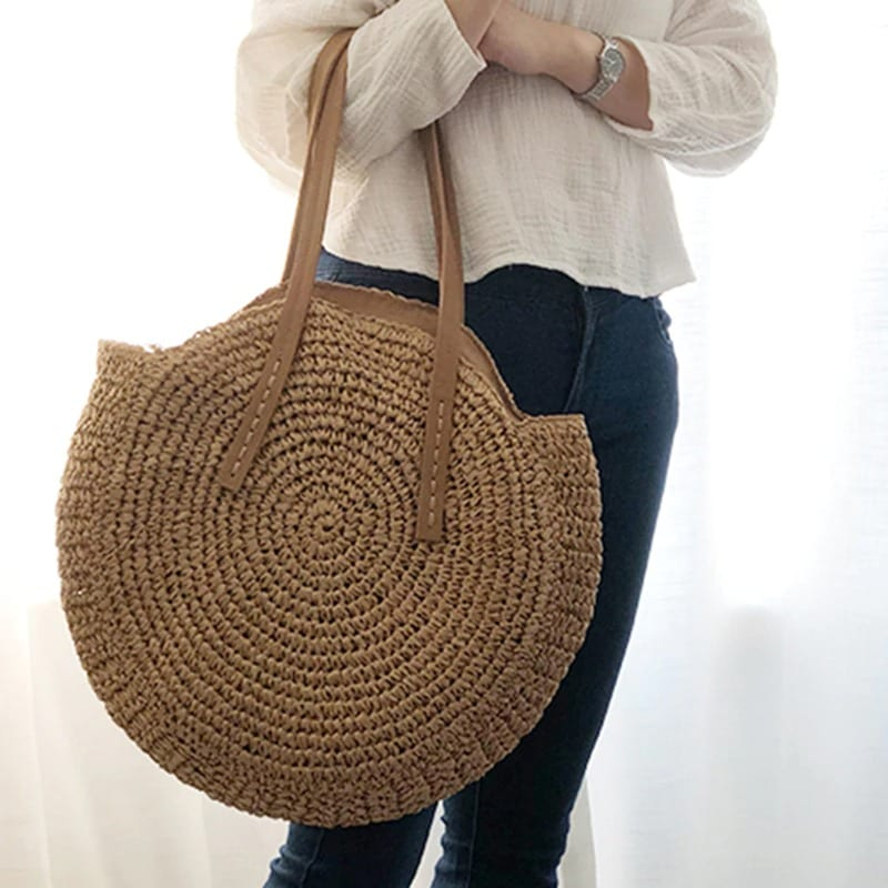 Straw bag with leather handles vietnam 2021
