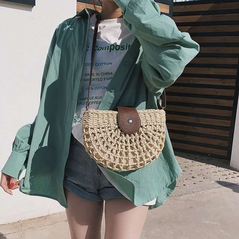 What woven summer straw purse