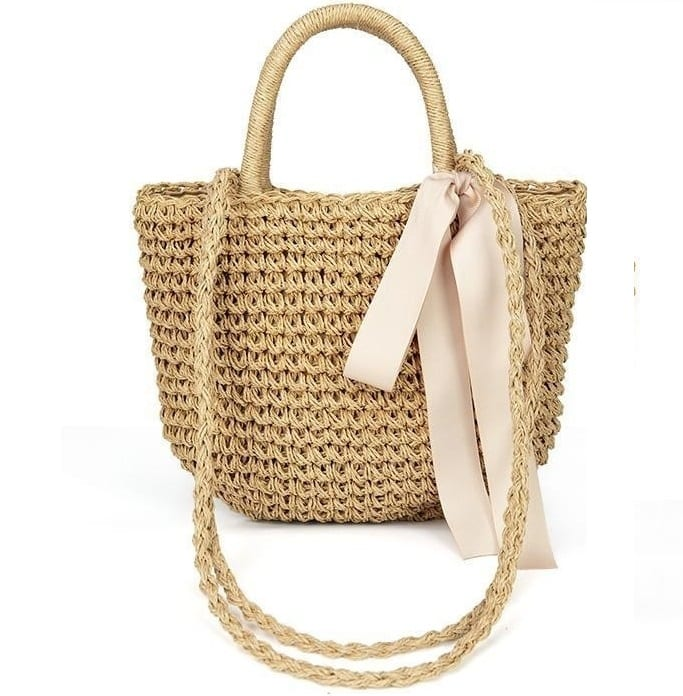What natural designer straw handbag value