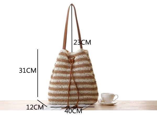 Basket black straw purse