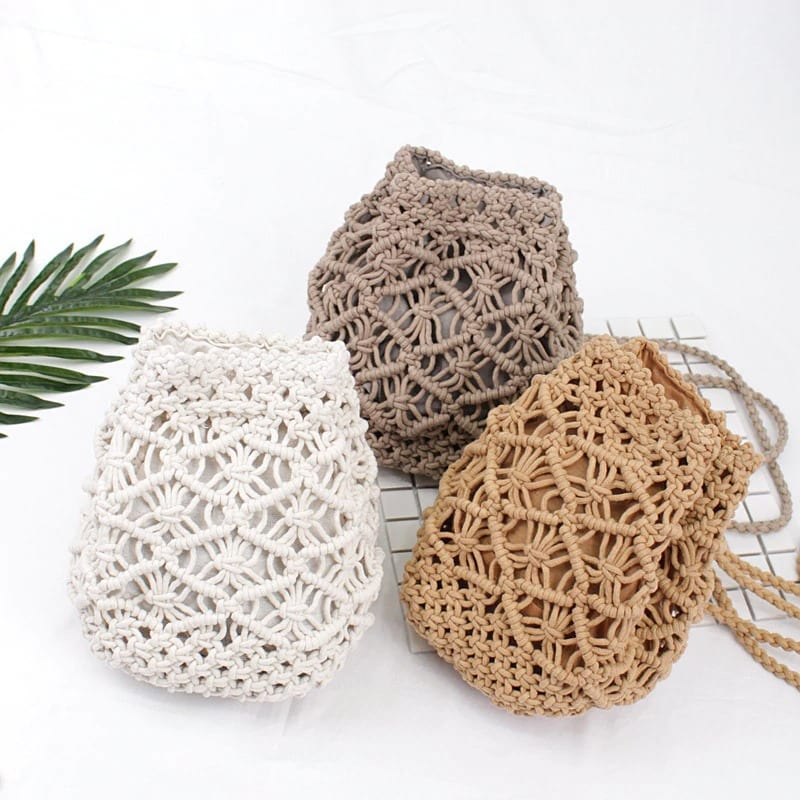 Knitted straw backpack