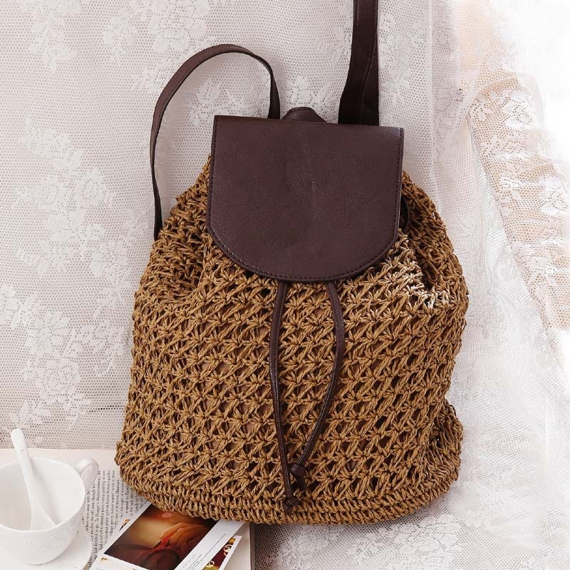 Where navy straw bag